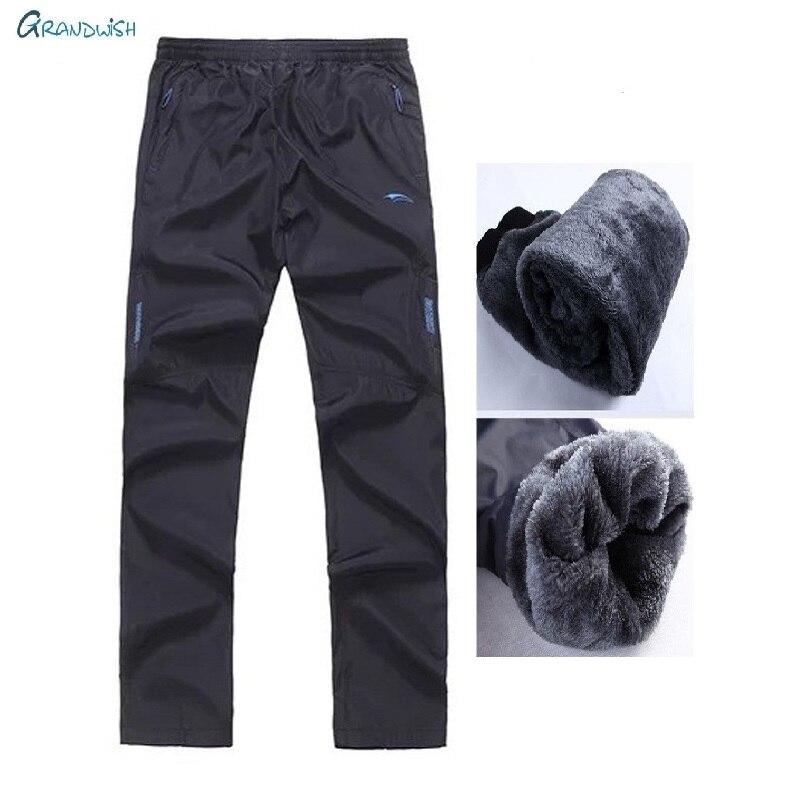 Pantalones deportivos cálidos de invierno para hombre, pantalones gruesos rectos de lana con cintura elástica, pantalones de lana para hombre de talla grande, ZA072