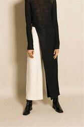 Женские брюки AEL, черные и белые ассиметричные брюки с широкой талией, Весенняя женская одежда, 2018