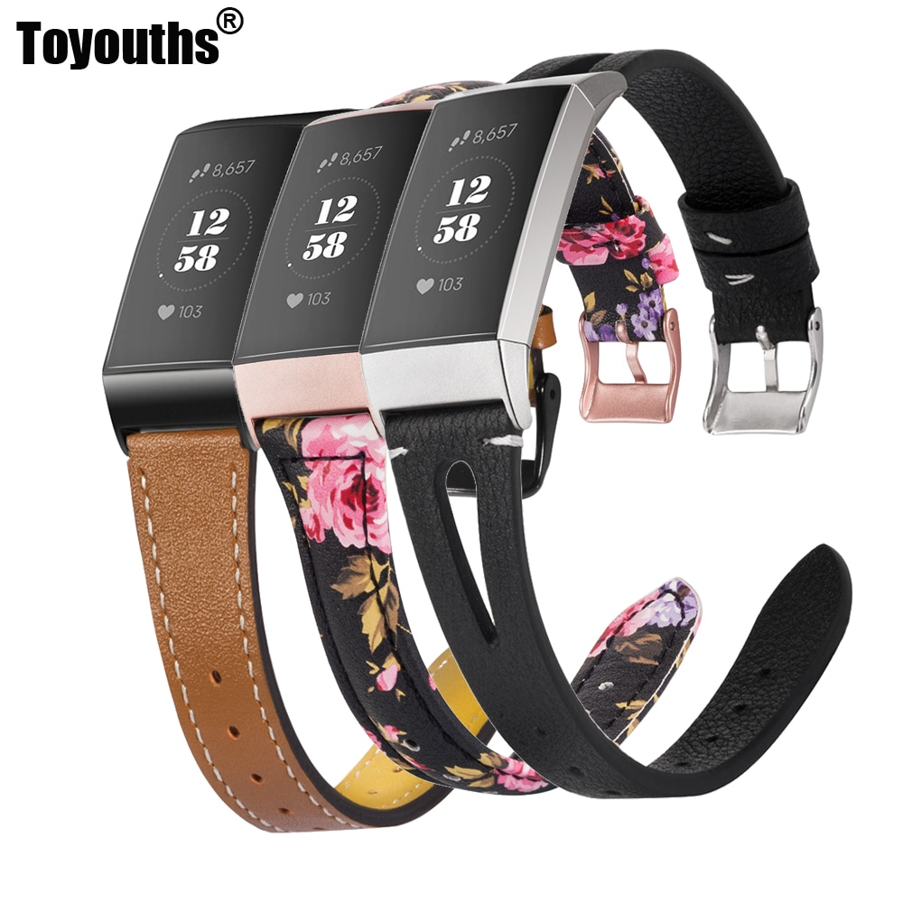 Toyouths Smart Watch Bands For Fitbit Charge 3 Women Slim Leather Replacement 2019 Special Day Acces