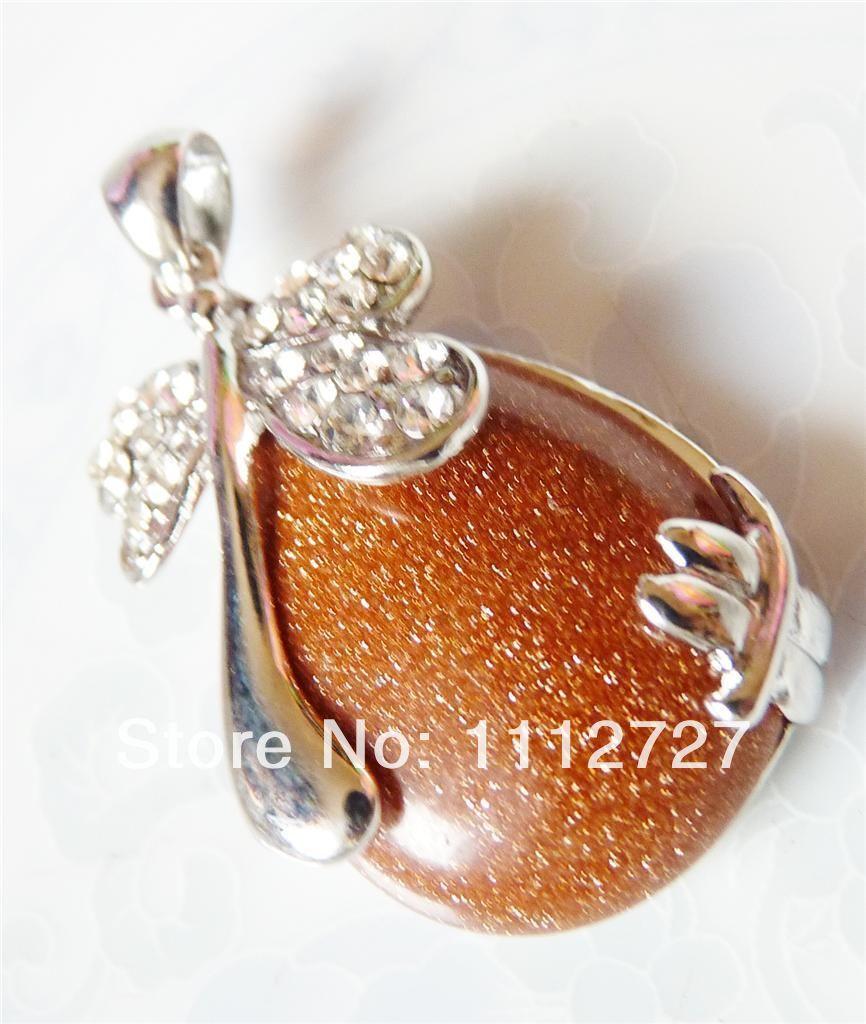 Envío Libre 2014 Natural Perlas de Joyería Fresca 24x36mm Gold Sand Joyería Insertar Mosca Dragón Oval Colgante Al Por Mayor precio