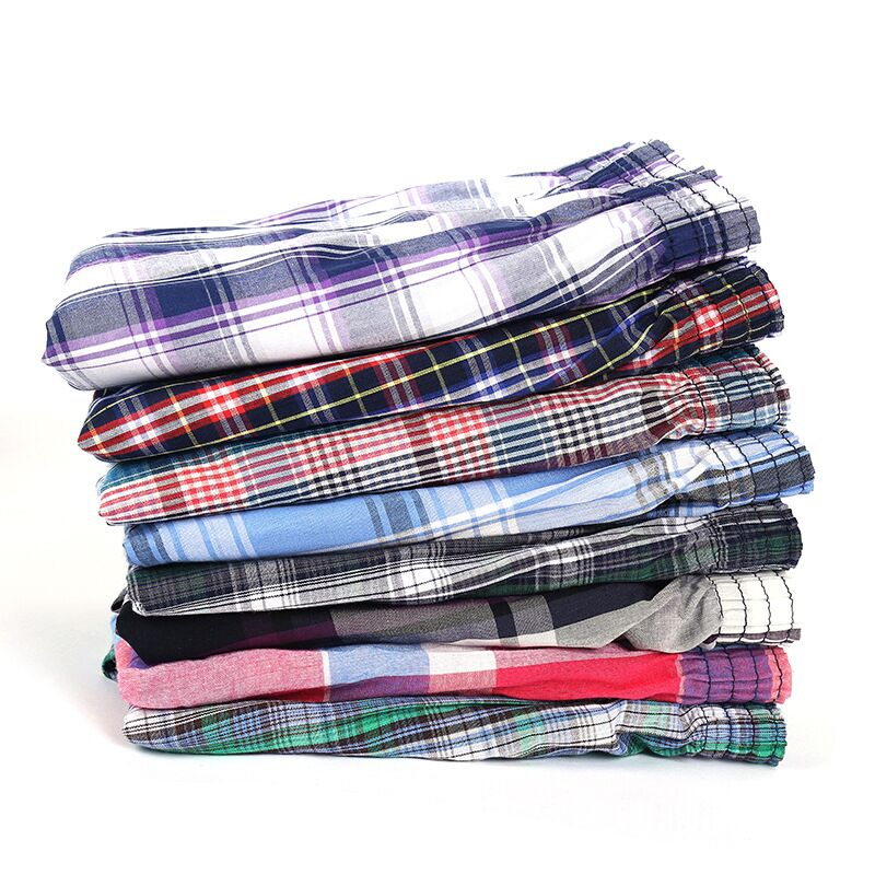 5 pcs Mens Underwear Boxers Shorts Casual Cotton Sleep Underpants Quality Plaid Loose Comfortable Ho