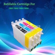 Cartucho de tinta recargable Chipped T0601-T0604 para Stylus C68, C88, CX3800, CX3810, CX4200, CX4800, CX5800F, CX7800 con arco, 35 juegos