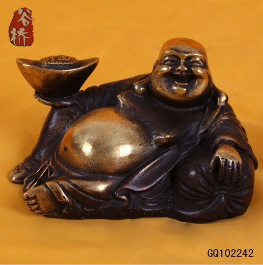 ronze sculpture, laughing buddha crafts buddha decoration ingot buddha feng shui products decoration