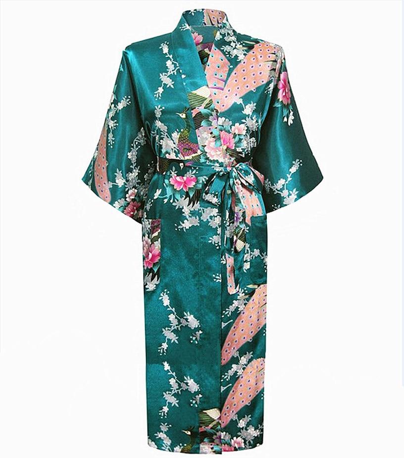 Nuevo vestido largo verde de satén Albornoz camisón omen Kimono ropa de dormir Flor de talla grande XXXL vestido de boda para dama de honor