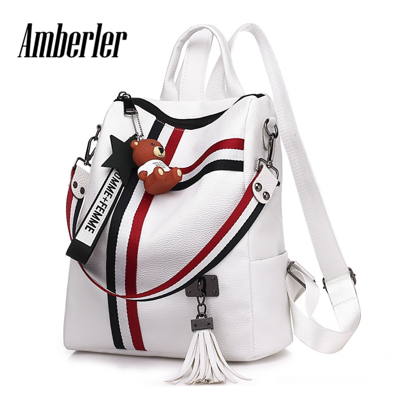 Amberler Fashion Women Backpack Fashion PU Leather School Backpacks For Teenage Girls Preppy Style New Tassel Shoulder Bags