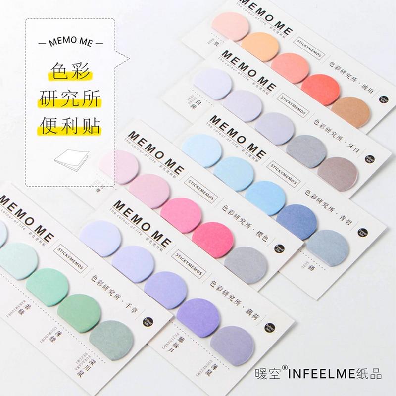 Pegatinas adhesivas de tiras de colores con diseño de bloc de notas Nota de papel adhesivo kawaii, papelería, pepalaria, suministros para oficina y escuela