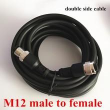 M12, tamanho duplo plug 2m cabo 4 pinos macho para fêmea 100 pces conector com custo de transporte