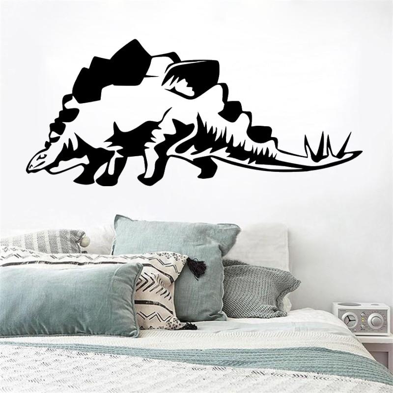 Decoración de habitaciones de chicos Stegosaurus vinilo pared dinosaurio vinilo arte extraíble póster Mural moderno cartón decoración calcomanías LX82