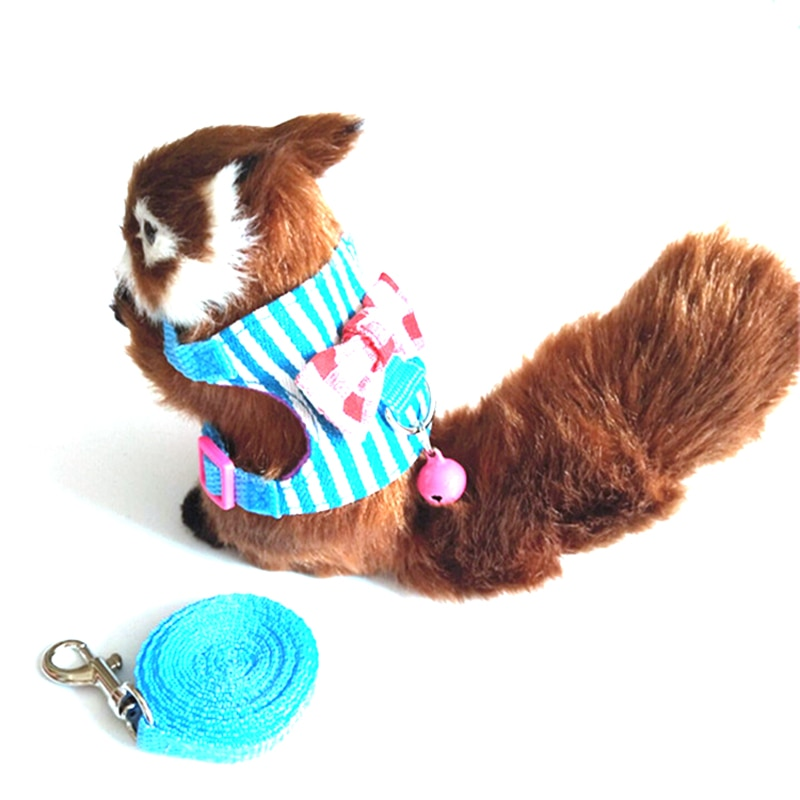 Lazo a rayas Chinchilla Hamster, arnés pequeño para mascota, ardilla, ropa con chaleco de dibujos animados con correa de plomo, Collar de cuerda para hámster Mouse Rat