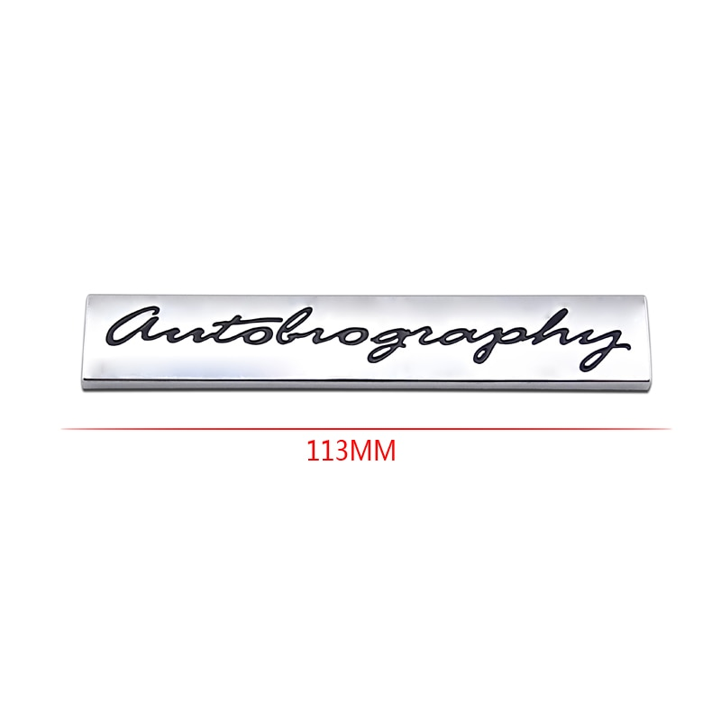Silver Land AUTOBIOGRAPHY Logo Rear Body Badge Sticker Emblem Car Tailgate Chrome Sticker