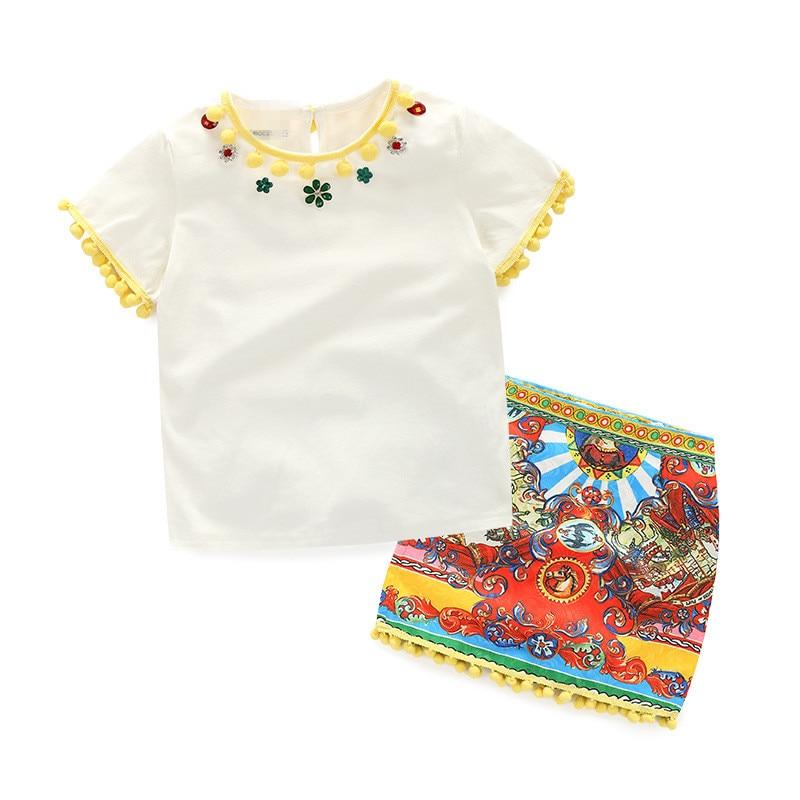 مجموعة ملابس صيفية للفتيات الصغيرات ، تي شيرت قصير وتنورة مطبوعة ، 100% قطن ، مجموعة جديدة