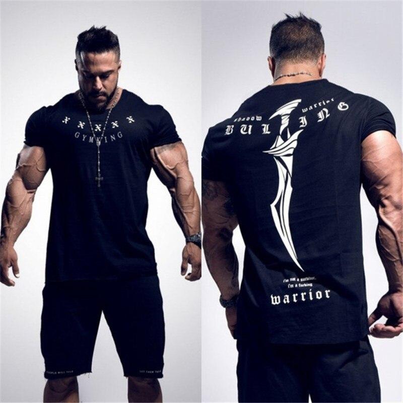 2020 nueva camiseta de verano para gimnasio, camiseta de marca de tipo grande, camiseta para hombre, culturismo, Fitness, de secado rápido, camiseta de manga corta para correr