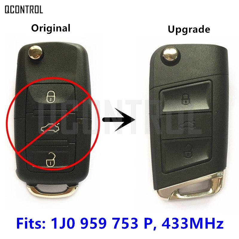Llave remota de actualización QCONTROL 433MHz para SKODA Octavia/superb/Fabia 1J0 959 753 P/753 P o 1J0 959 753G/753G