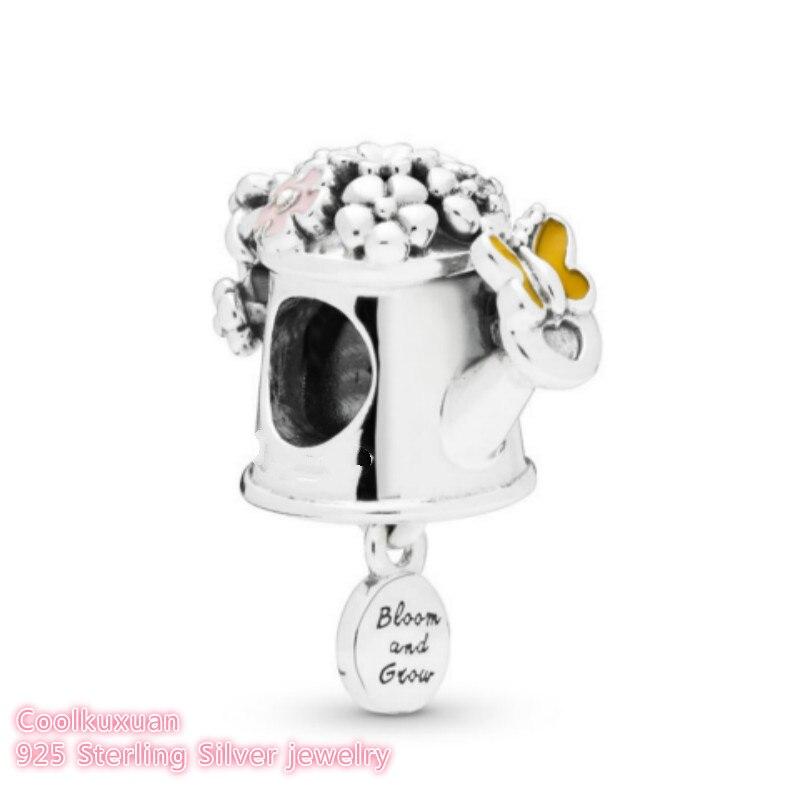 2019 wiosna 100% 925 Sterling Silver Blooming konewka Charm emalia koraliki pasuje oryginalne markowe bransoletki tworzenia biżuterii