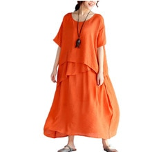 Robes dété tunique Femme surdimensionné coton lin robe De plage Vestidos Largos De Verano sundress grandes tailles robe chemise