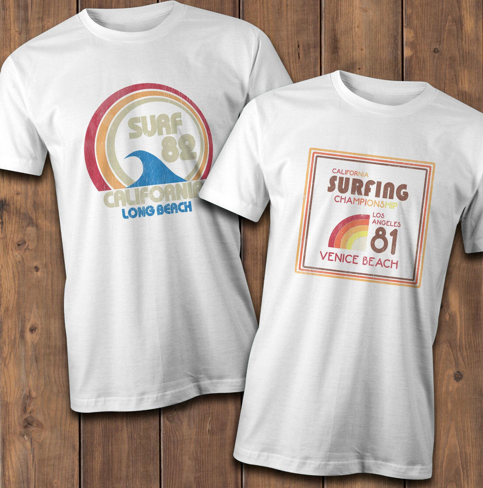 Camiseta de surf retro 1980, surf venice beach 82, surf 81. Vintage surf t homme 2019 novo casual de manga curta