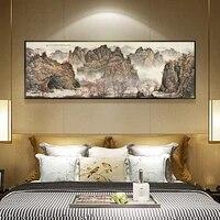 Peinture a lencre chinoise sur toile  impression HD de paysage  tableau dart mural  decoration de maison  salon
