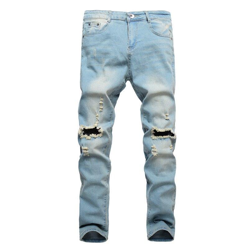 Men Jeans Pencil Pants Long Trousers Pants Street dress Casual Fashion Hip Hop Denim Washed High-end Youth Hole Men MOOWNUC MWC