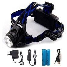 LED XM-L T6 phare 6000Lm phare Rechargeable phare + 2*18560 batterie + chargeur + chargeur de voiture + câble USB