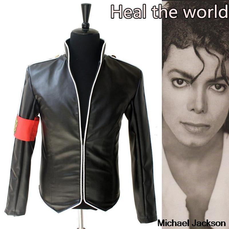 En memoria MJ Michael Jackson Heal the World hermoso Punk con brazalete rojo Inglaterra militar chaqueta prendas de vestir colección