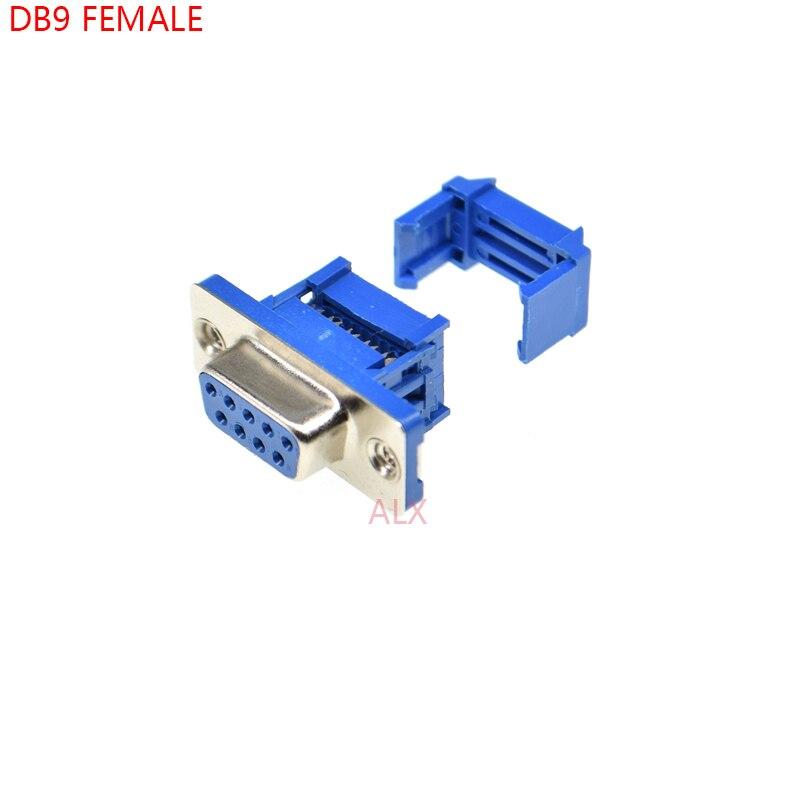 5 pces didc9 db9 fêmea conector de porta serial idc tipo de friso d-sub rs232 com conectores 9pin soquete 9p adaptador para cabo de fita