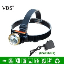 Linterna frontal LED de 5W, resistente al agua, con batería de litio integrada y recargable + cargador, 2 modos de linterna LED para cabeza
