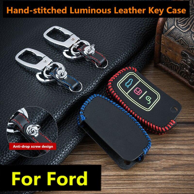 Genuine Leather Car Key Case Covers Keychain For Ford Focus 2 3 4 MK2 MK3 MK4 Kuga Edge Mondeo Fusion Ecosport Fiesta Key Shell