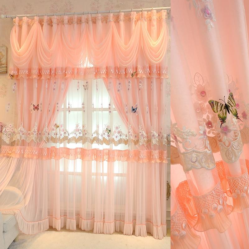 ستائر أميرة مطرزة من التول بطبقتين ، فراشة وردية ، ستائر زفاف لغرفة المعيشة