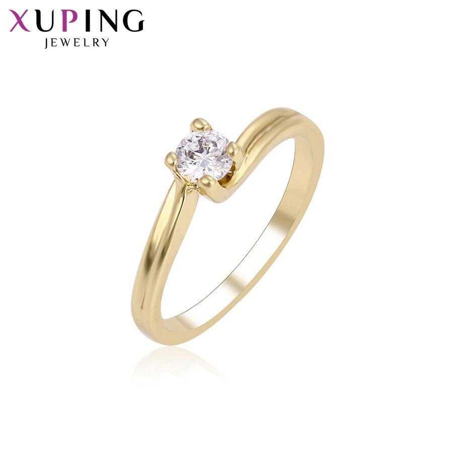 Anillo Xuping elegante con diseño de moda para mujer, anillos chapados en oro amarillo claro, joyería para regalo de Navidad, S64-8-11753