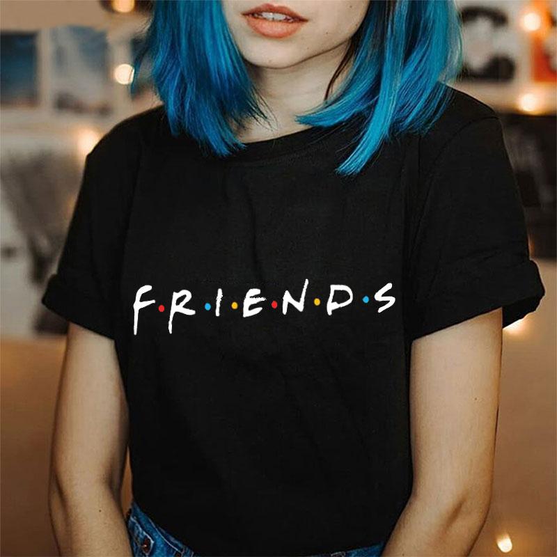2019 Hot Summer Harajuku Fashion Friends Letter O-neck Short Sleeve Graphic Tee Shirt Femme Tops Aesthetic Glasses T Shirt Women
