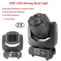 2pcslot spot 90w led moving head light with lcd display dmx512 3 facet prism moving head for disco dj ktv party music light