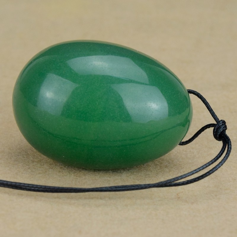 Drilled Yoni eggs  Natural Green Aventurine Jade Egg  for Kegel Exercise Yoni Egg  for Women 45X30MM Love Egg for Adult