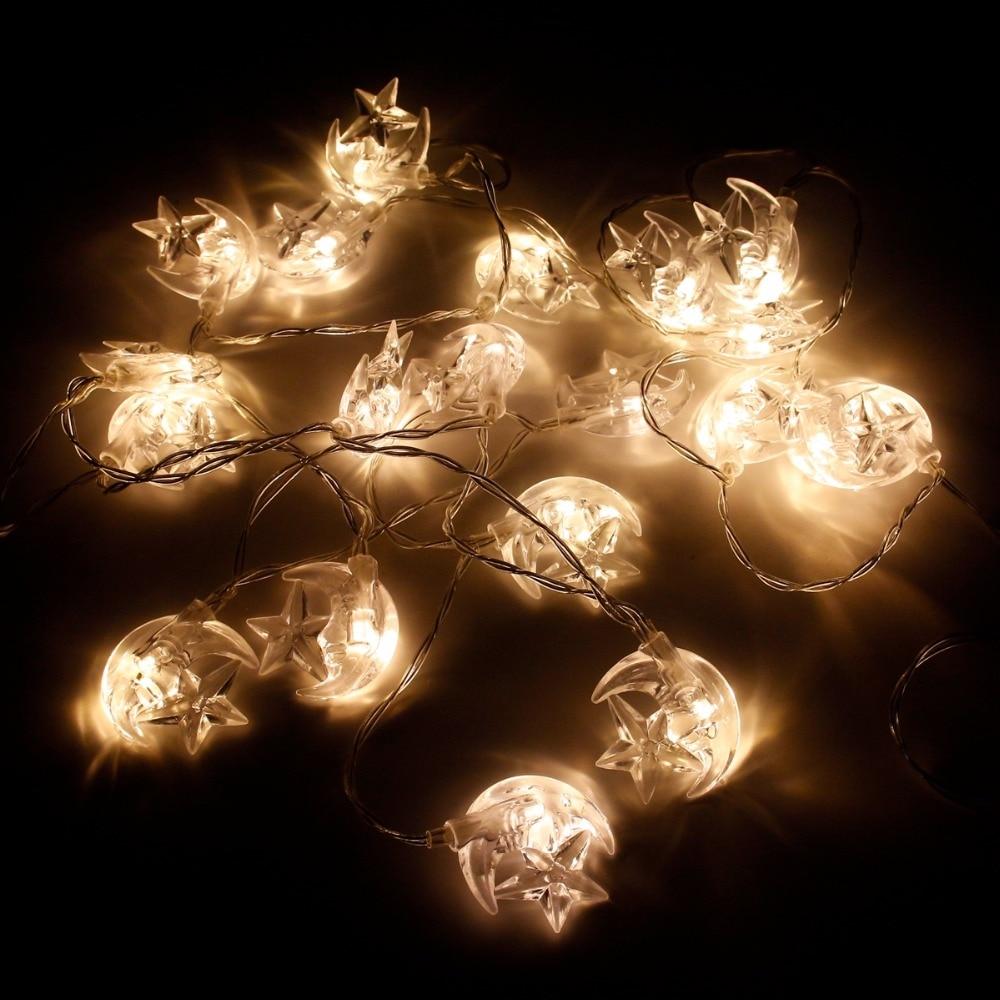Tira de luces Led HUIRAN EID Mubarak, decoración de estrellas, suministros para fiestas EID, decoración para Ramadán, decoración para fiestas musulmanas, islámicas, decoración para fiestas Eid Al Adha