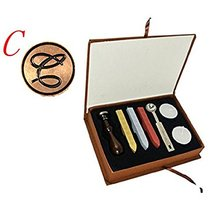 Vintage Letter C Alphabet Initial C Engraved Wedding Invitation Gift Box Wax Seal Stamp Sticks Melting Spoon Set