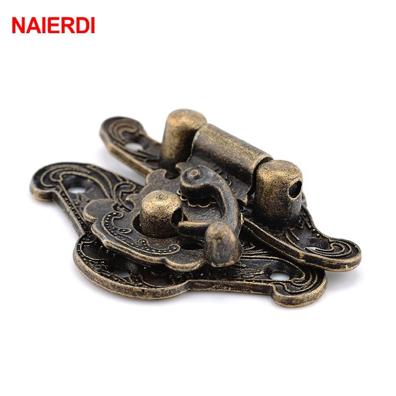 NAIERDI 4pcs Antique Bronze Hasp Latch Jewelry Wooden Box Lock Mini Cabinet Buckle Case Locks Decorative Handle 3 size