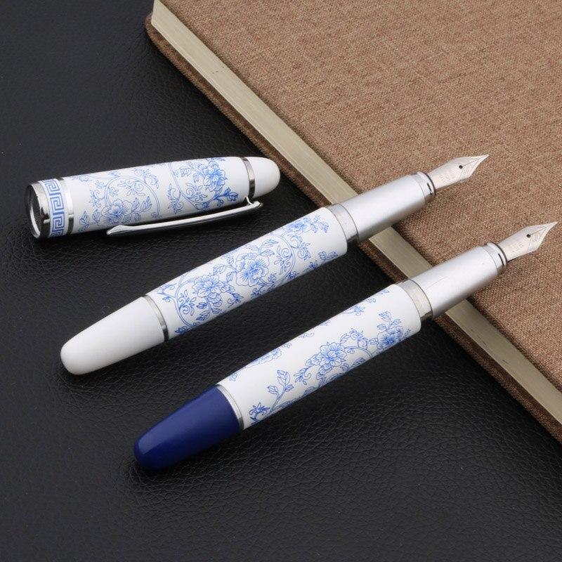 1 Uds azul y blanco pintura en porcelana medio pluma estilográfica