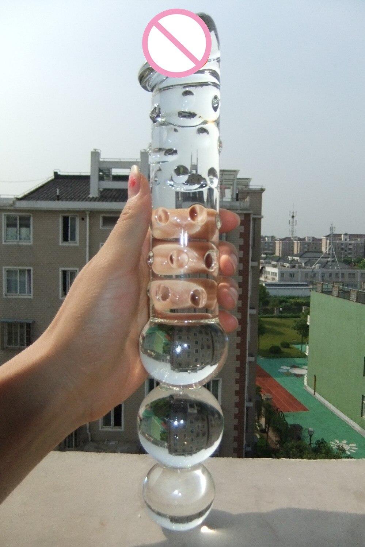 Consolador largo de cristal grande con 3 cuentas anales, consolador doble y trasero juguetes anales gran Consolador gran tapón anal de vidrio productos sexuales para mujer