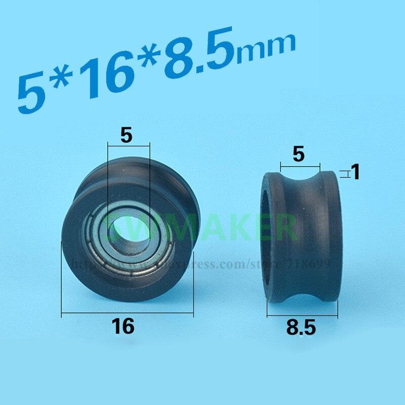 Swmaker 5*16*8.5mm u tipo sulco polia roda saco de plástico saco de roda de plástico rolamento embutido