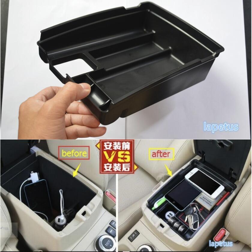 Consola Central Lapetus caja de almacenamiento multifunción bandeja de teléfono Kit de accesorios para Nissan x-trail X Trail T32 Rogue 2014-2020 negro