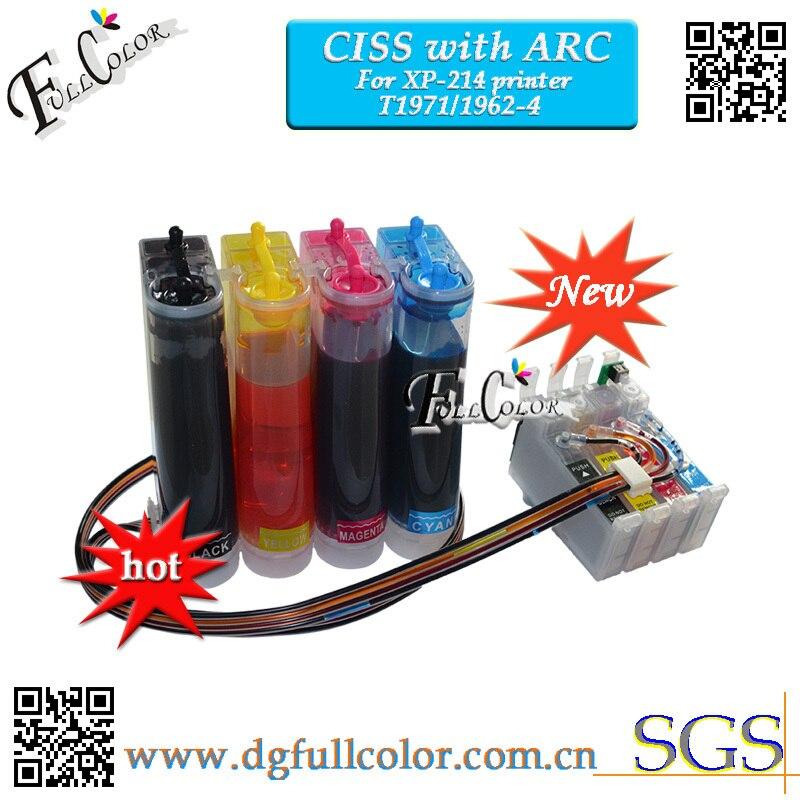 Para xp214 CISS con CHIP de arco para xp-214 impresora CISS T1971 T1962 T1963 T1964 sistema de tinta 10 conjunto de lote