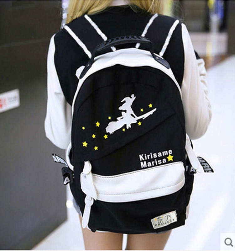 حقائب ظهر للرجال والنساء ، شحن مجاني ، تصميم TouHou ، ساحرة صغيرة ، طباعة بالأبيض والأسود ، حقائب cartoo ، حقيبة مدرسية ، حقائب ظهر للكلية