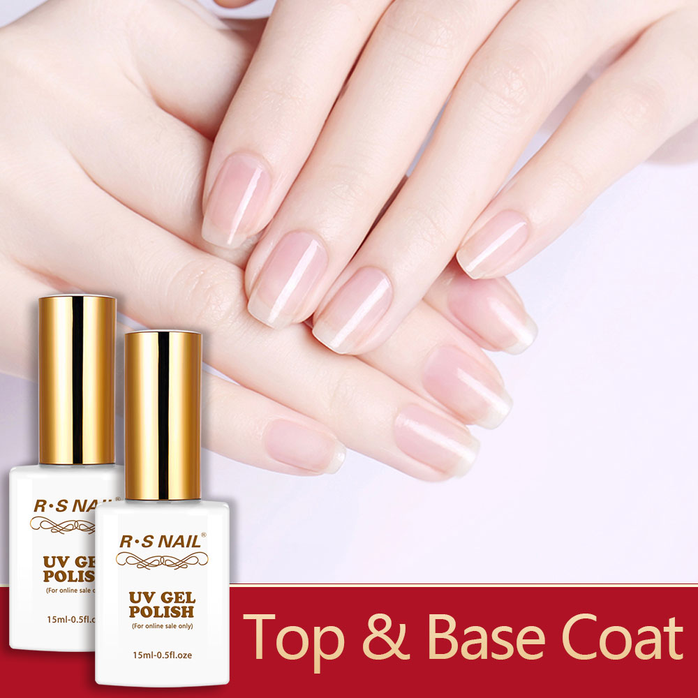 RS NAIL Base Coat Top Coat Soak Off Gel Polish Base for Nail Primer Peel Off Base Matte Top Tempered Top Reinforce Gel 15ml