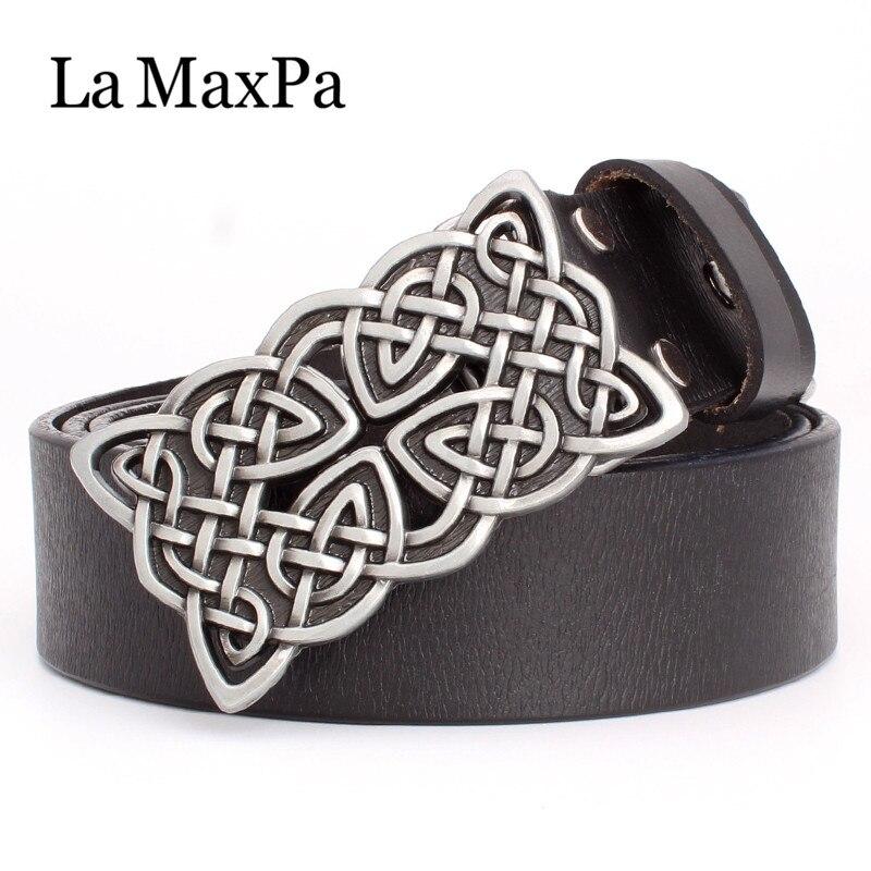 Cinturón de mujer a La moda MaxPa de cuero auténtico, cinturón de piel de vaca para mujer, patrón de nudo celta, hebilla plateada, cinturón de nudo tejido para mujer