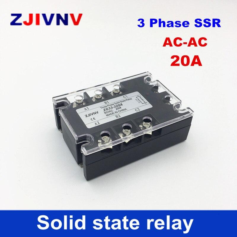 AC-AC 20A 80-250VAC control 480VAC 3 fases relés de estado sólido AC trifásico SSR 20Amp ZG33-320A