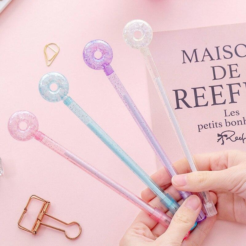 Lote de 40 Uds de bolígrafos creativos de Gel con forma de Donut, bolígrafos Kawaii para niños, artículos de papelería de oficina coreanos bonitos para escribir, regalo de moda