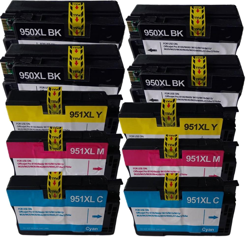 10 خراطيش حبر متوافقة مع طابعة HP ، لـ hp950 ، 951 ، 950xl ، 951xl ، لـ OfficeJet Pro ، 8600 ، 8600Plus ، 276dw