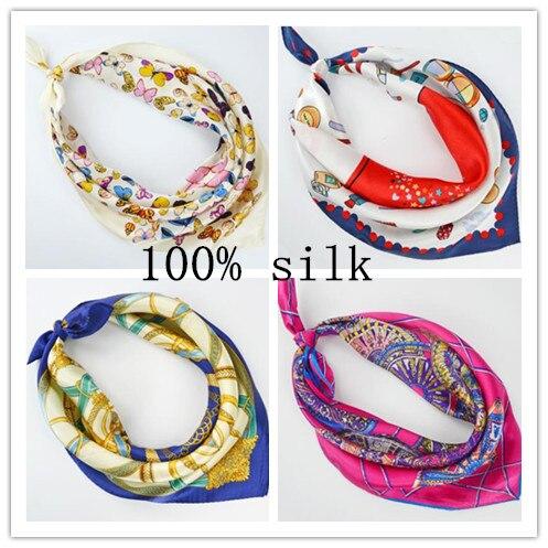 Bufanda cuadrada de seda 100% para mujer, bufanda de seda estampada de primavera y verano para mujer, bufanda para trabajo de Banco 53*53 cm
