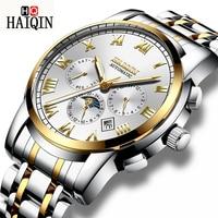 HAIQIN Men Watch Automatic Mechanical Tourbillon Luxury Fashion Brand Stainless Steel Man Sports Watches Men's Relogio Masculino