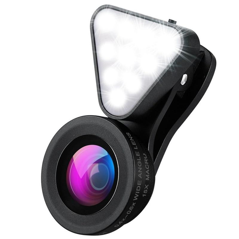 Lente Triangular de la cámara del Flash, anillo con temporizador de luz recargable, lente Macro 15X y lente gran angular