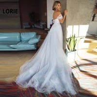 lorie long train a line lace up wedding dress 2019 appliques with tulle bride dress off the shoulder corset wedding gown custom